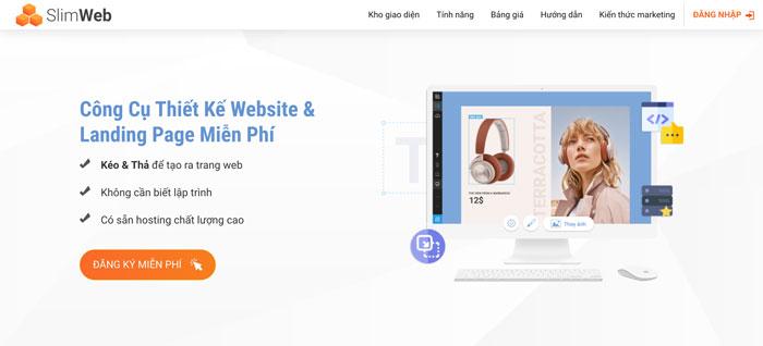 Công cụ hỗ trợ tạo landing page Slimweb
